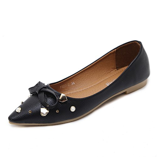 Toe AdeeSu Shoes Womens Flats Pointed Black Grommets Urethane Bows pxqIr0vx