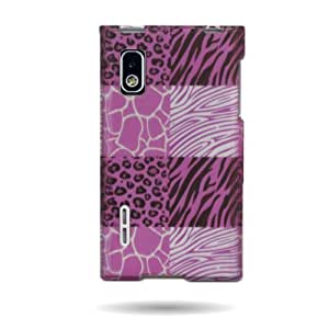 PINK Hard Snap-On Cover Case with WHITE BLACK EXOTIC SKINS Design for LG L40G OPTIMUS EXTREME With PRY...