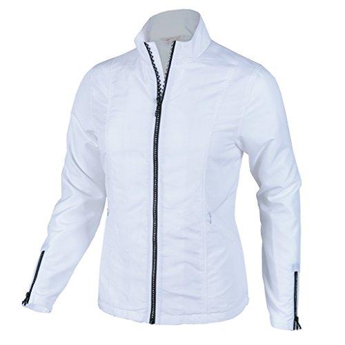 (Monterey Club Ladies Lightweight Rhinestone Zipper Jacket #2780 (White, X-Large))