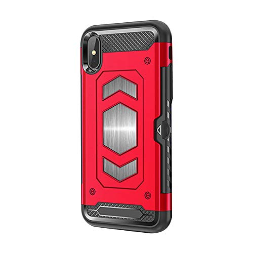(Case for iPhone Xs Max/XR, Magnetic Dual Layer Military Grade Duty Card Holder Case Armor Series Car Mount for iPhone Xs (iPhone XR 6.1, Red) )