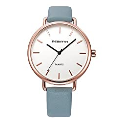 Top Plaza Unisex Classic Luxury Dress Blue Leather Rose Gold Case Quartz Wrist Business Analog Watch 3 ATM Waterproof