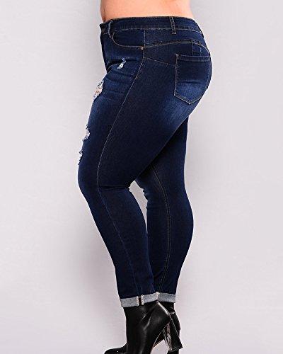 Pantaloni Denim Jeans In Donna Grossa Blu Marino Curvy Strappati Elasticizzati Skinny Taglia dwIxYIqXr