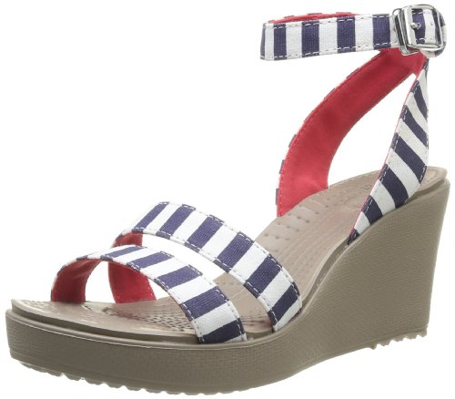 crocs Women's 15313 Leigh Graphic Wedge Sandal, Nautical Navy/White, 7 M US