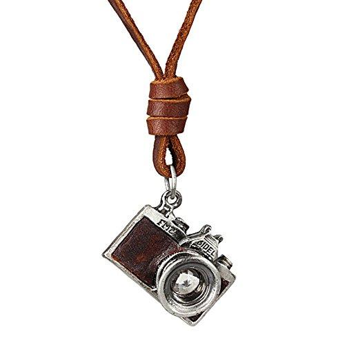 Coostuff Vintage Men Women Jewelry Rock Punk Camera Pendant Genuine Leather Long necklace women gift colar - Necklace Camera Pendant
