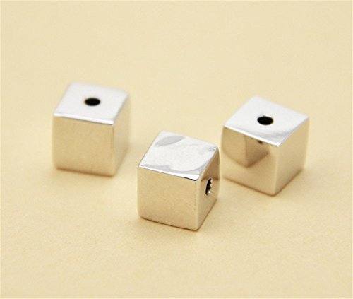 - 2pcs 925 Sterling Silver 6mm Cube Spacer Beads, 925 Solid Silver Cube Bead Spacer (S001S)