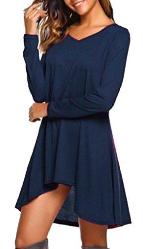 Neck Loose Sleeve Women's Jaycargogo Long Casual 1 Solid Dress V Shirt T E7FOx0qH