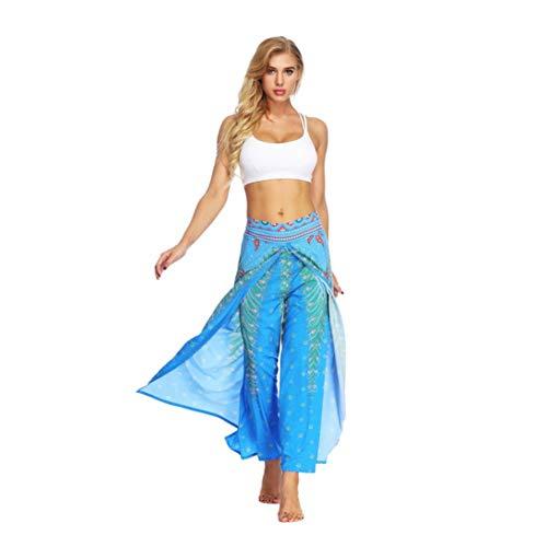 iYBUIA Women Casual Peacock Print Loose Yoga Trousers Baggy Boho Aladdin Jumpsuit Harem Pants(Light -