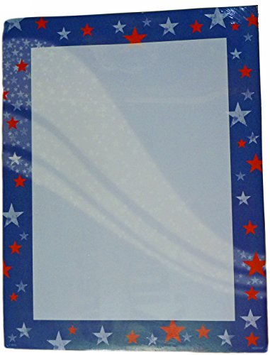Recycled Paper Greetings Designer Printer Paper - Abstract Borders (Red, White & Blue Stars (Red White Blue Border)