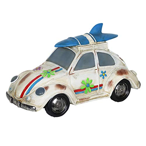 Exhart Retro Beetle Car Statue w/Solar LED Accent Lights - Solar-Powered Garden Statue of a Mini Vintage Bug Car in Hand-Painted Colors for a Nostalgic Home Outdoor Decorations, 7 Inches Tall ()
