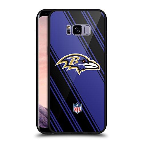 Official NFL Stripes 2017/18 Baltimore Ravens Black Hybrid Glass Back Case for Samsung Galaxy S8+/S8 - Ravens Football Case Baltimore Black