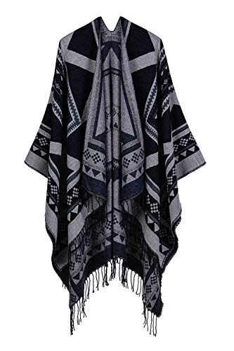 Timemory Printed Tassel Open Front Poncho Cape Cardigan Wrap Shawl