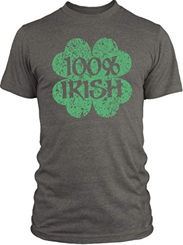 Vintage Shamrock Tri Blend (Big Texas Distressed 100% Irish Shamrock (Green) Vintage Tri-Blend T-Shirt, Venetian Grey,)