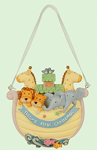Midwest Baby's 1st Christmas Noah's Ark Ornament 4 Inches Baby Boy Christmas Ornament
