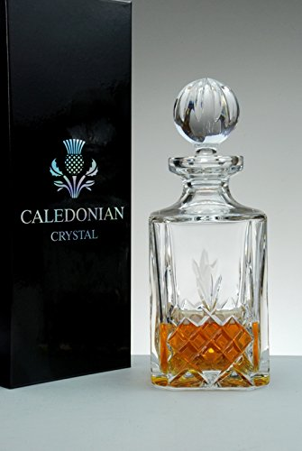 Buckingham Crystal Square Whisky Decanter, Caledonian Crystal Satin Presentation Gift Box Forever Crystal 3009.25