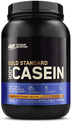 Optimum Nutrition Gold Standard 100 Micellar Casein Protein Powder, Slow Digesting, Helps Keep You Full, Overnight Muscle Recovery, Chocolate Peanut Butter, 2 Pound Packaging May Vary