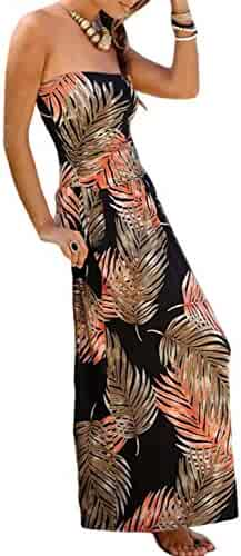 93ecefe72d8 Ecrocoo Women s Boho Floral Printed Summer Long Dresses with Pockets Off  Shoulder Strapless Tube Beach Sun