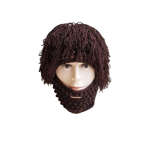 Tinksky Wig Beard Hats Knit Beard Mask Warm Winter Caps Funny Mask Beanie christmas gift for Men Women (Brown)