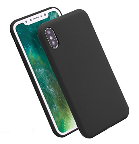 Case Black Cover Phone Silicone (iPhone X Case, Marktol Ultra Slim Soft TPU Silicone Back Flexible Rubber Bumper Protector Cover Case for iPhone X - Black (All 6 Colors))