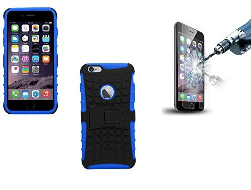 Deet® Apple iPhone 6 Plus/6S, 11,94 cm (4,7)] antiurto con pellicola protettiva per lo schermo Premium in vetro, blu