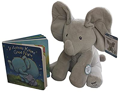"GUND BABY ANIMATED FLAPPY THE ELEPHANT PLUSH TOY with ""IF ANIMALS KISSED GOODNIGHT"" book, great gift for Easter, birthdays, baby shower and holidays. Gift set bundle by Rimon"