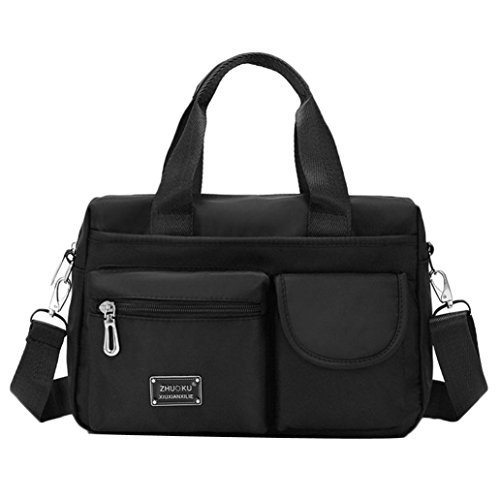 LLguz Women Nylon Multi Purpose Solid Color Zipper Handbag Travel Shoulder Bag Backpack Elegant Soft Satchel Handbag (Black) by LLguz