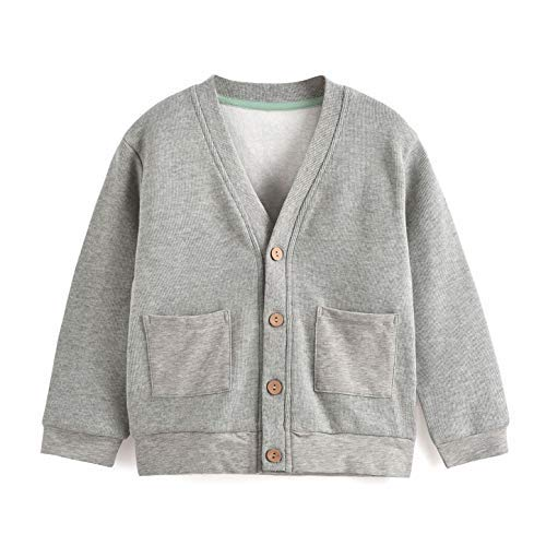 (Aimama Toddler Knit Cardigan,Baby V-Neck Long Sleeves Cotton Button up Sweater Infant Top with Pockets - Grey )