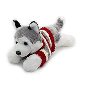 """Vintoys Siberian Husky In Red T Shirt Lying Plush Puppies Stuffed Animals Dogs Plush Toy 16"""" 1"""