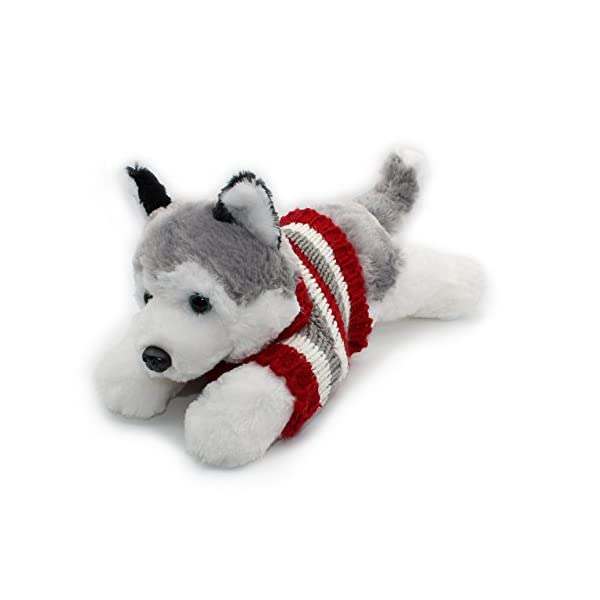 "Vintoys Siberian Husky In Red T Shirt Lying Plush Puppies Stuffed Animals Dogs Plush Toy 16"" 1"