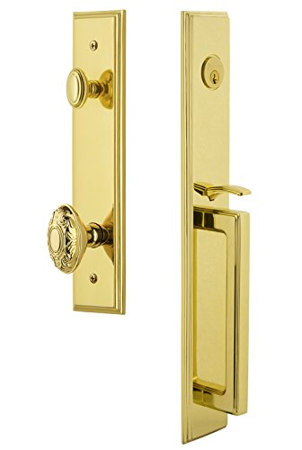 Grandeur 849077 Hardware Carre' One-Piece Dummy Handleset with D Grip and Grande Victorian Knob in Lifetime Brass (Victorians Grande Grip)