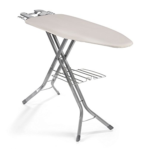 """Polder IB-5119RM Oversized 51"""" x 19"""" Ultimate Ironing Board Station with Built-in Iron Rest, Garment Shelf, Thick Pad and 100% Cotton Cover, Natural"""