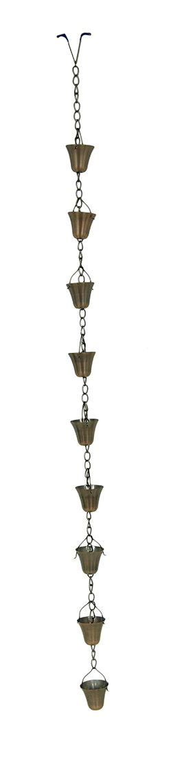 Zeckos Metal Rain Chains Copper Finish Flared Cup Rain Chain 72 in. 3 X 72 X 3 inches Copper by Zeckos