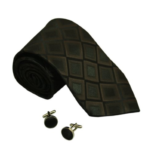 6435 Brown Khaki Checkers Silk Neckties Cuff Links Gift Idea For Man Set By Y&G