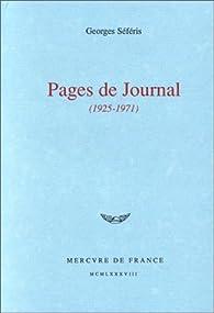 Pages de journal, 1925-1971 par Georges Séféris