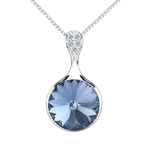 EleQueen 925 Sterling Silver CZ Solitaire Round Pendant Necklace Blue Topaz Color Austrian Crystal Blue Topaz Color Solitaire