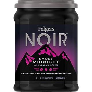Folgers Noir Smoky Midnight Dark Roast Ground Coffee, 10.3 Ounces (Pack of 6)
