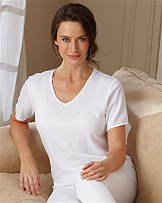 Cuddl Duds Lace Trim Thermal Top - Misses, Womens