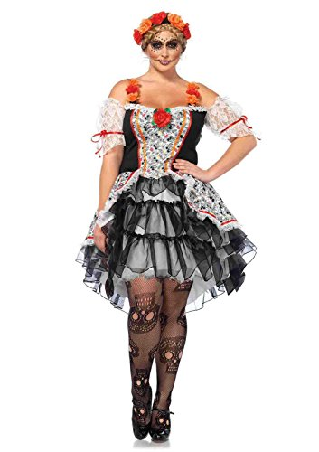 2pc. Sugar Skull Senorita Costume Bundle with Pink (Sugar Skull Outfit Halloween)