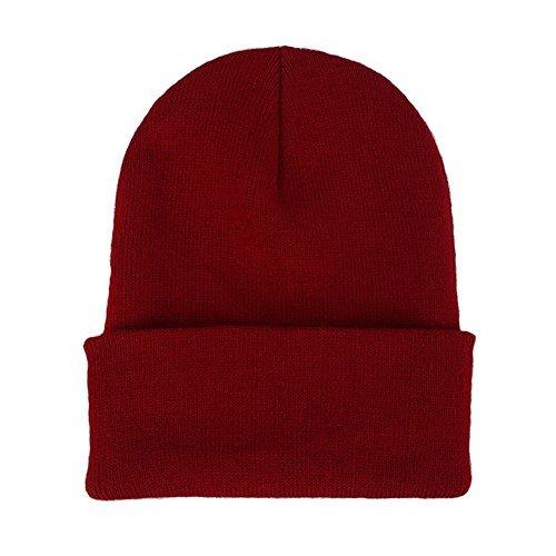 Red Hat Dark Knit (CANCA Unisex Cuff Warm Winter Hat Knit Plain Skull Beanie Toboggan Knit Hat/Cap (Dark Red))