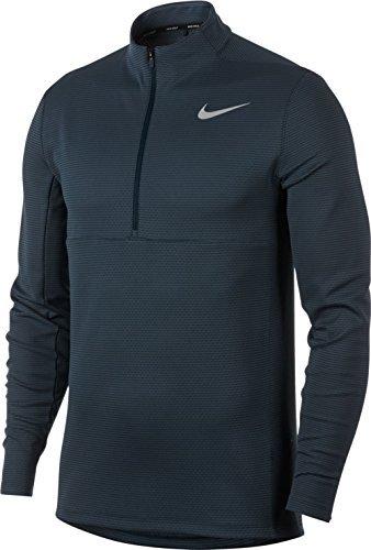 NIKE Men's AeroReact Top Half Zip Golf Pullover (Armory Navy/Black/Flat Silver, Large) (Half Zip Mesh Pullover)
