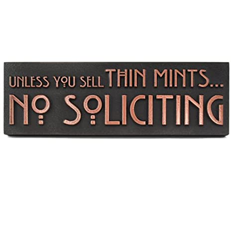 99da0fb2b97 Amazon.com  Thin Mints No Soliciting Sign 12x4 - Made in USA - Raised  Copper Metal Coated Sign  Industrial   Scientific