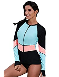 minqi Women Long Sleeve Rash Guard Sun Protection Zip Front Swimsuit Shirt Printed Surfing Shirt Top