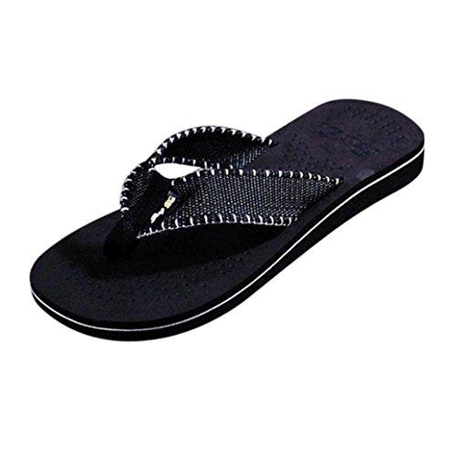 OverDose Männer Sommer Freizeit Breathable Weichen Streifen Flip Flops Schuhe Sandalen Herren Slipper Flip-Flops Schwarz