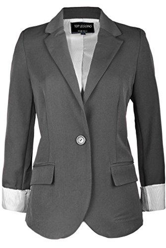 TL+Women%27s+Casual+Lightweight+Work+Office+Solid+Color+Versatile+Jacket+Blazer+51R_Charcoal+M