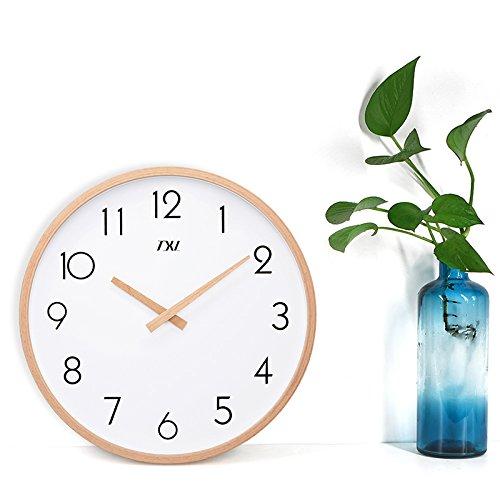 Y-Hui Wall Clock Bedroom Living Room Mute Wooden Quartz Watches, 14 Inch, Jane European Digital