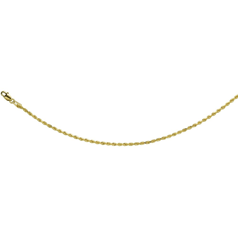 14K Solid Yellow Gold ROPE Chain Necklace Diamond Cut 2 mm Nickel Free, 28 inches long
