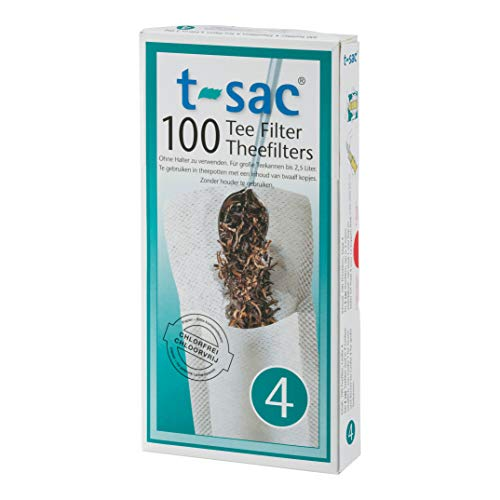 (T-Sac Tea Filter Bags, Disposable Tea Infuser, Number 4-Size, 6 to 12-Cup Capacity, Set of 100 )
