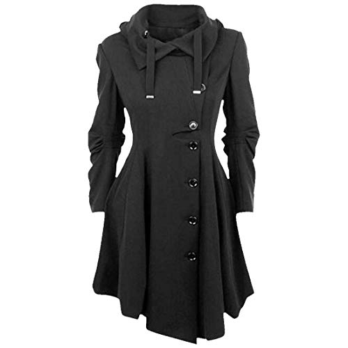 Automne Schwarz Irregular Parker Mode Button Longues Huixin Classique Unicolore Roul Outerwear Manteau Femme Trench Manches Printemps Coat Casual Col Longues Young 1 Styles wtppAB