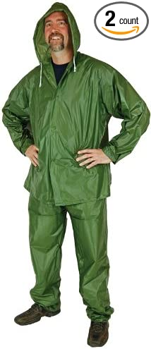 Vinyl Rain Suit Compact 2 Piece X Large Lightweight Emergency Camping Gear Sports Outdoors