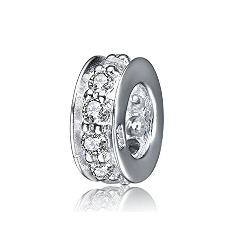 Ollia Jewelry 925 Sterling Silver Beads Focal Round Spacer Charm with White Zircon Stones Fits European Style 3mm Cable Chain Bracelets (Circle Birthstone Charm)