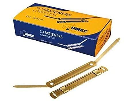 Umec 129394 - Pack de 50 fasteners metálicos, color dorado: Amazon.es: Oficina y papelería